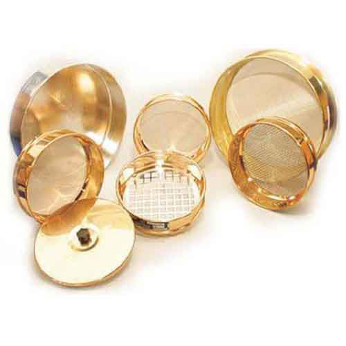 Brass frame sieves 100, 200, 300 and 450 mm dia.